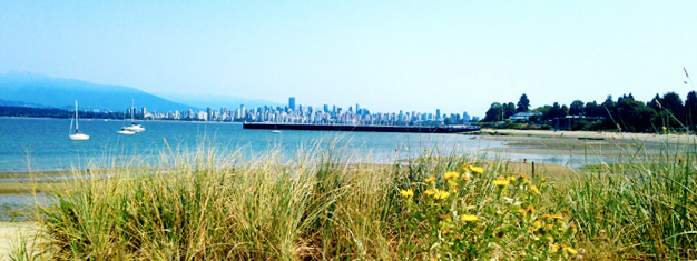Vancouver's summer skyline as seen from Stanley Park.