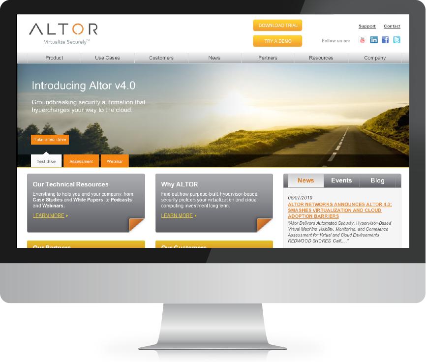 Altor web design & dev examples after