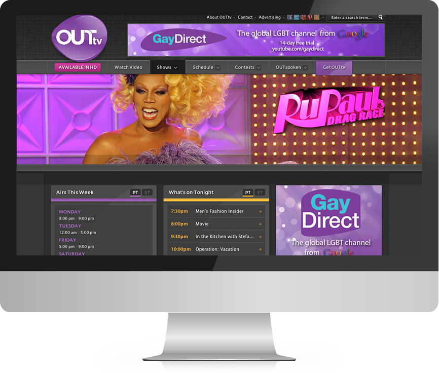 OUTtv website design and development examples after
