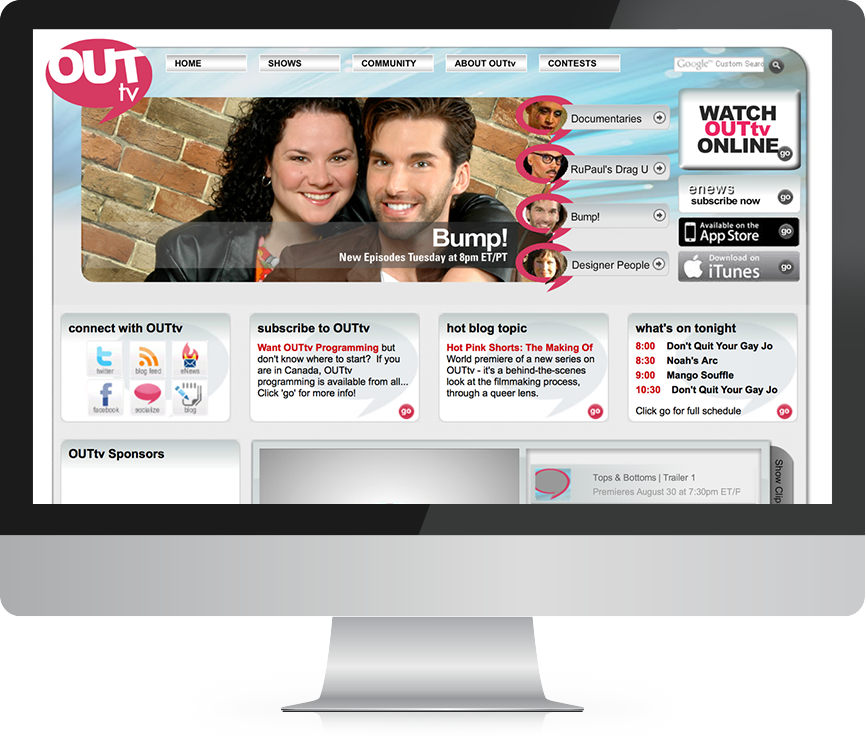OUTtv website design and development examples before