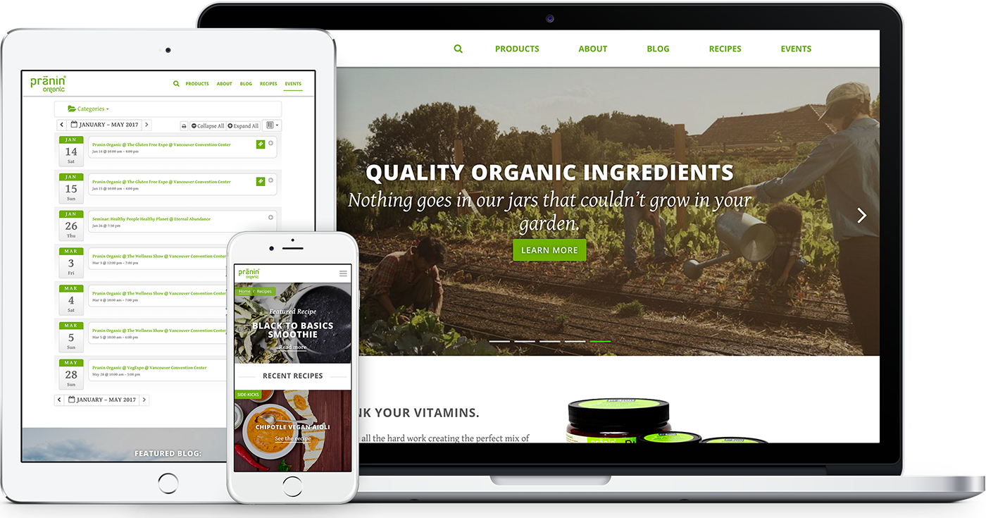 Pranin Organic website design & branding examples