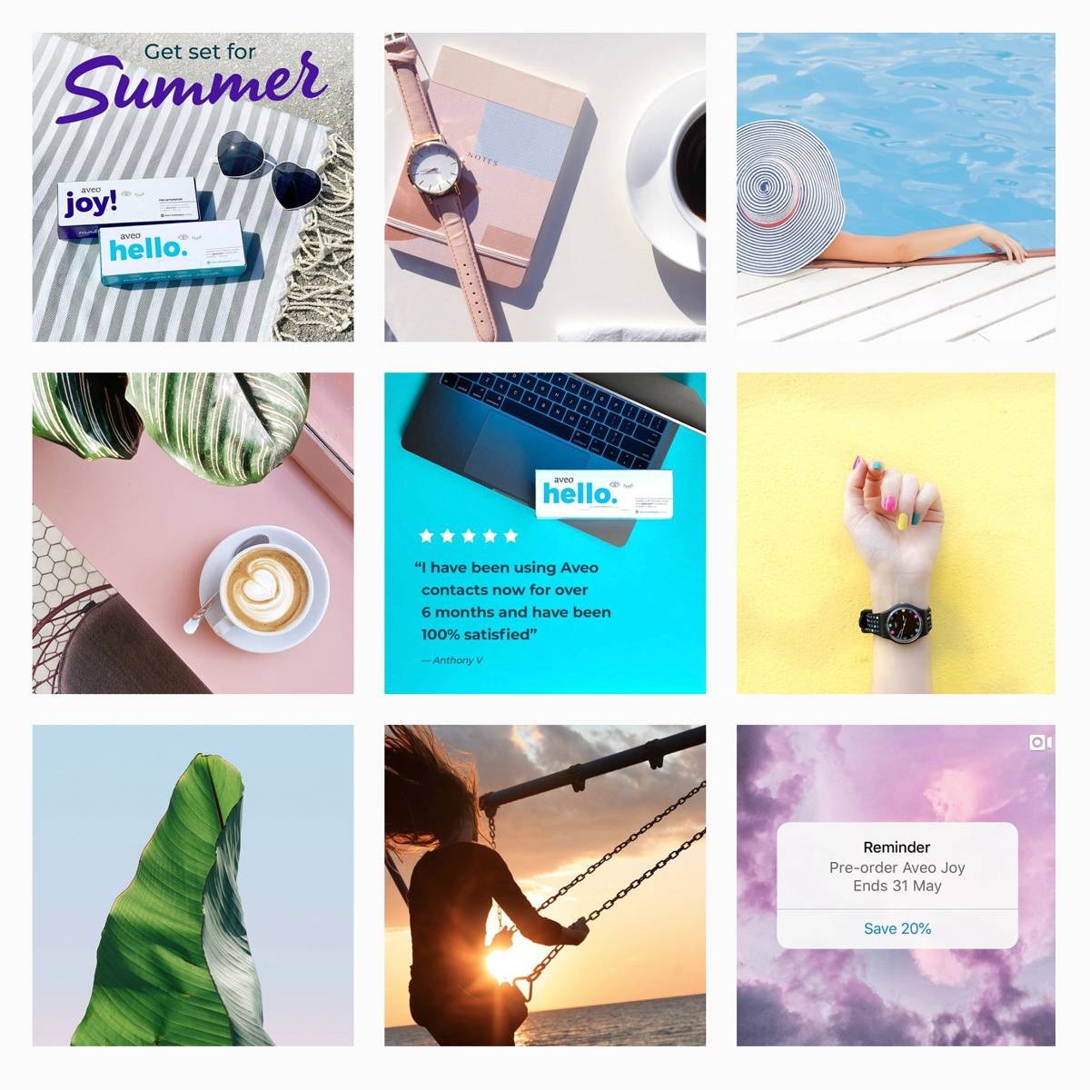 Aveo Visions Instagram grid after BSTRO