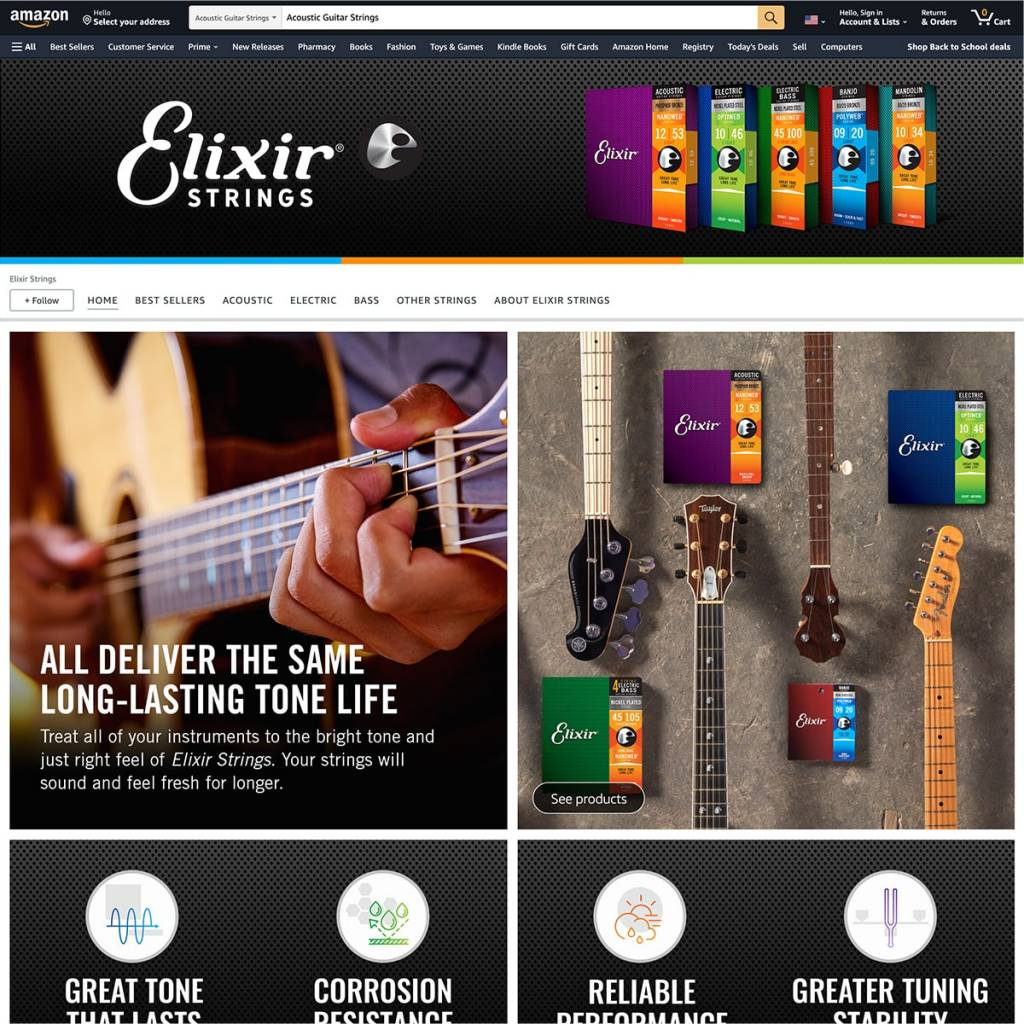 Elixir Strings Amazon Store after BSTRO